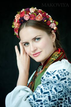 "Ukrainian flower hair piece ""Makoviya"" studio traditional ukrainian gown and jewelry"