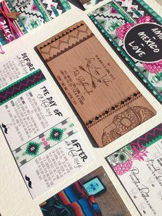 Aztec + plywood invitations