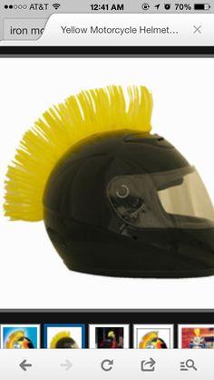 Yellow Helmet Mohawks for Motorcycle Dirtbike Helmets Scooter Skate Boarding Snowmobile Atv