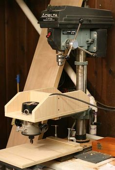 Overhead pin router setup for the drill press