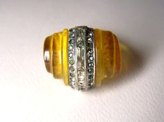 Featured in 8 Treasury Lists - Very Rare 1930s Celluloid Art Deco ring