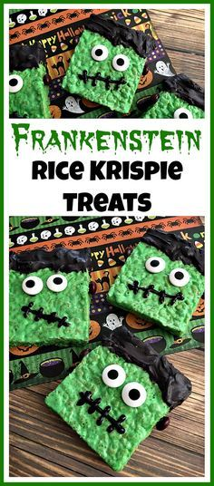 What a fun treat to make! These Frankenstein Rice Krispie Treats are easy and delicious Halloween party desserts! They're also fun treats to make with kids! These Frankenstein treats make excellent Halloween party desserts! Halloween Desserts, Halloween Baking, Halloween Goodies, Halloween Food For Party, Halloween Decorations, Halloween Cupcakes, Easy Halloween Treats, Spooky Treats, Halloween 2018