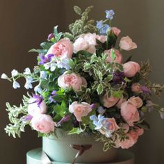 The Real Flower Company Luxury Blue & Pink Bouquet