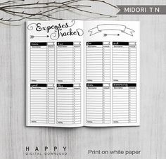 Printable Expenses Tracker Midori Expenses Tracker Printable