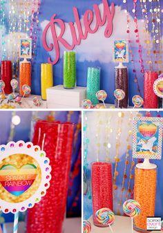 My Little Pony Rainbow party featuring a Sparkle Rainbow theme with rainbow sequin tablecloth and rainbow candy table with a fabulous Rainbow Dash cake. Rainbow Dash Cake, Rainbow Jelly, Rainbow Candy, Rainbow Theme, Rainbow Art, Rainbow Parties, Rainbow Birthday Party, Art Birthday, Birthday Parties