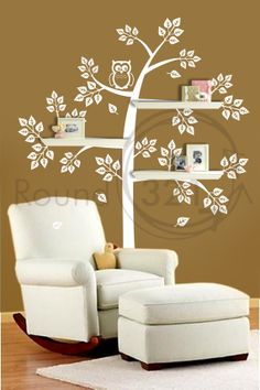 Shelve Tree Wall Decal With Mommy & Baby Owl   Bedroom by Round321, $80.00