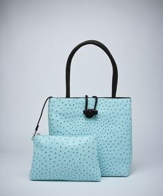 Spring Structured Ostrich Tote - Aqua #shoplately