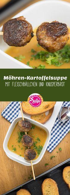 Würzige, deftige Suppe mit Fleischbällchen und geröstetem Knoblauch-Brot.