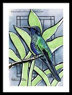 Blue Green Hummingbird watercolor painting by Dora Hathazi Mendes in Karavella Atelier Blog