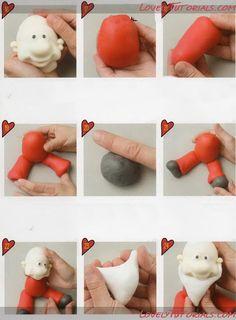"МК лепка ""Санта Клаус"" -Gumpaste (fondant, polymer clay) Santa Claus figure sculpting tutorial - Мастер-классы по украшению тортов Cake Decorating Tutorials (How To's) Tortas Paso a Paso"