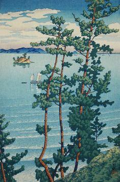 Nishi Park, Fukuoka Series: Souvenirs of Travel |iii| Kawase Hasui (Japan, 1883-1957) Japan, 1927 Prints; woodcuts Color woodblock print Image: 14 5/16 x 9 7/8 in. (36.4 x 25.0 cm); Paper: 15 1/2 x 10 7/16 in. (39.4 x 26.5 cm) Gift of Mr. and Mrs. Felix Juda (M.73.37.68) Japanese Art