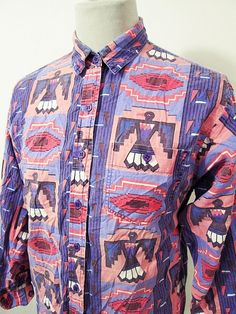 Vintage Cowboy Western Native American Indian Bright Snazzy Shirt XS-S
