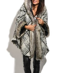Love this White Flannel Faux-Fur Hooded Wool-Blend Coat on #zulily! #zulilyfinds