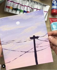 Getting some Bob Ross vibes! ❤ 👏 Artist Getting some Bob Ross vibes! Simple Canvas Paintings, Small Canvas Art, Cute Paintings, Easy Canvas Painting, Mini Canvas Art, Paintings Tumblr, Moon Painting, Sunset Acrylic Painting, Easy Acrylic Paintings