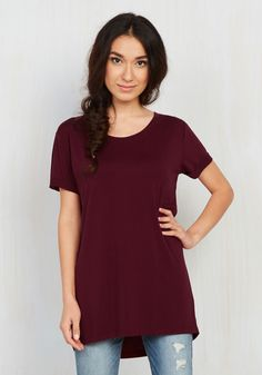 Simplicity on a Saturday Tunic in Merlot - Long, Jersey, Knit, Red, Solid, Casual, Short Sleeves, Exclusives