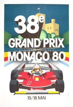 pinterest.com/fra411 #vintage #race #poster - Monaco Grand Prix, 1980. Gift for sports fan