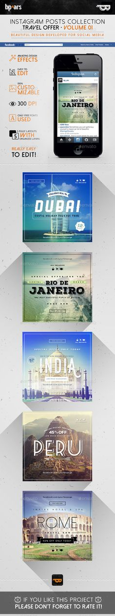 5 Instagram Banners | Travel Offer Template #design #ads Download: http://graphicriver.net/item/5-instagram-banners-travel-offer-vol-i/12713247?ref=ksioks