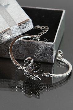 Bransoletka w kolorze srebrnym, grafitowy łabędź