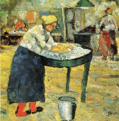 "artist-malevich: ""Laundress, Kazimir Malevich Size: cm Medium: oil on wood"" Art Pop, Muse Kunst, Kazimir Malevich, Cubist Movement, Kunst Poster, Muse Art, Abstract Painters, Oil Painting Reproductions, Russian Art"