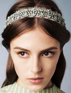 Encrusted on Silk Chiffon Headwrap by Jennifer Behr :: hair :: beauty :: accessories :: blue :: handmade :: headband :: headpiece