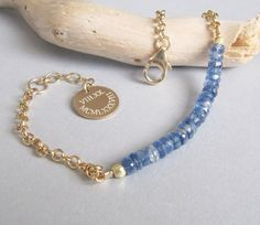 Blauwe kyaniet armband met gepersonaliseerde armband, ketting en Link Bracelet, goud, stapelen damesarmband, armband, echte kyaniet, delicaat