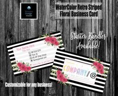 Lularoe Business Cards, Printing Services, Online Printing, Lipsense Business Cards, Photography Business Cards, Elegant Business Cards, Name Logo, Standard Business Card Size, Floral Stripe