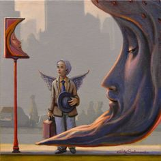 "Saatchi Art Artist Carlo Salomoni; Painting, ""THE METAPHYSICIAN MOON STOP."" #art"