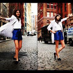 The @manrepeller in her favorite #velvetslippers @deltoroshoes  #ManRepeller