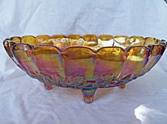 1950's Amber Carnival Glass Footed Fruit Bowl