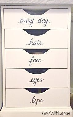 Makeup vanity organization. Perfect! #makeupvanities #makeupvanity