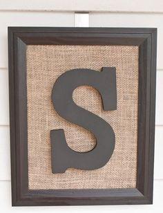 Burlap letter frame by ModestAppearance on Etsy, $40.00