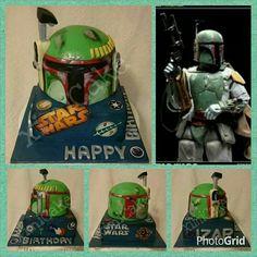 "Star Wars Boba Fett Cake #ChocolateDevilishCake #StarWars #BobaFett #StormTropper #DarthVarder #Yoda #LukeSkywalker   ""Happy Birthday Izar!""  #ximiCake #BakedByPriscillia #BakedByPeien  www.Facebook.com/ximicake"