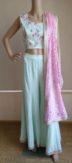 Floral crop with loose pants by 'Avnni Kapur'