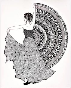 Beautiful dancing girl drawing using Mandala art | Belly dancer mandala art | Fashion illustration Mandala Art Therapy, Mandala Art Lesson, Mandala Artwork, Mandala Painting, Art Drawings Beautiful, Art Drawings Sketches Simple, Abstract Pencil Drawings, Dress Design Sketches, Realistic Drawings
