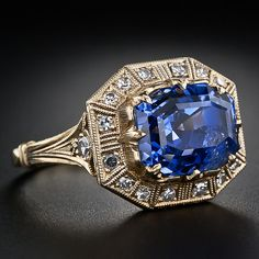 Partial side view: 8.62 carat Art Deco-style sapphire and diamond ring.  Via Diamonds in the Library.
