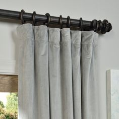 weighted at bottom. Exclusive Fabrics Signature Silver Grey Velvet Blackout Curtain Panel