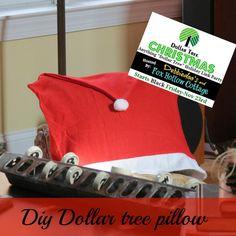 Dollar tree Christmas DIY pillow using Santa hat chair cover  www.debbie-debbiedoos.com
