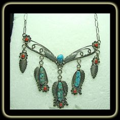 1940s-1950s Morenci Turquoise and Red Coral Sterling Silver Necklace