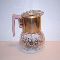 Vintage pink and glass carafe