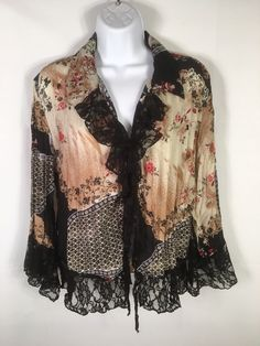 9bdf8baa708e8 Piano Womens Peasant Top L Lace front 3 4 Sleeve and hem Blouse Pretty Q