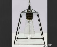Industrial terrarium lamp. Clear glass simple lamp. Edison bulb lamp. Modern lighting. Stained glass simple lamp.