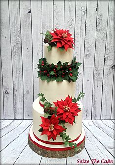 Christmas Cake with sugar poinsettias