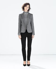 41b1ff046cf BLAZER FELPA CODERAS-Ver todo-Chaquetas-MUJER | ZARA México Grey Blazer  Black