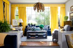 Living Room Yellow Details - Enter Serenity In Your Interior 12 Inspirational Examples How To Use Yellow Details Blue And Yellow Living Room, Bold Living Room, Blue And White Rug, Living Room New York, Eclectic Living Room, Living Room Designs, Living Room Decor, Blue Yellow, Yellow Fever