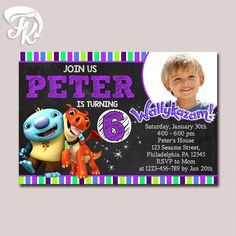 Wallykazam Chalkboard Invitation Birthday Party Card Digital 919 USD
