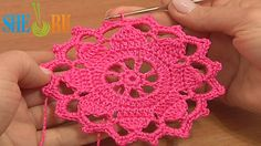 Crochet Wide Lace Tape Tutorial 7 Part 1 of 2 Crochet Round Motif