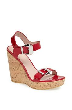 These cork wedge sandals will look great with a midi dress or skirt.
