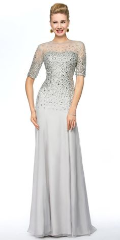 032be626a7a6 Exquisite Silk-like Chiffon Jewel Neckline Sheath Mother Of The Bride  Dresses With Beadings
