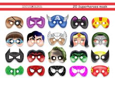 Unique Superhero Printable Mask,superhero party,batman,spiderman,wonderwoman,ironman,captain america,masks party package,avengers paper mask