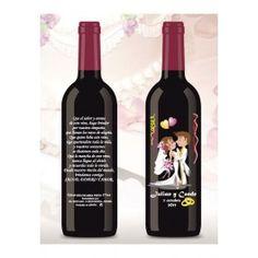 Botella de Vino decorada Boda 375ml. Personalizada